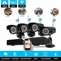 HD 8CH Wireless CCTV NVR IR-CUT WiFi Metal Camera Security S