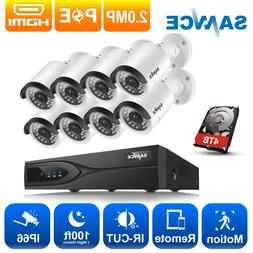 SANNCE 1080P POE 8CH 5MP NVR Outdoor 2M Security IP Camera S
