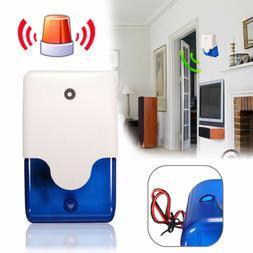 12V 110dB Wired Sound Alarm Strobe Flashing Siren Home Secur