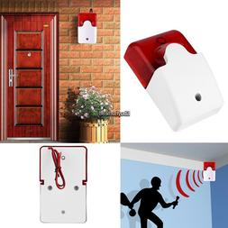 12V Mini Wired Sound Alarm Strobe Flashing Siren Home Securi