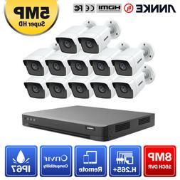 ANNKE 12x 5MP HD IP67 Camera 16CH 4K 8MP DVR Recorder Home S