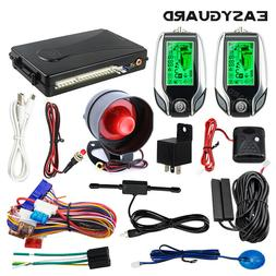 EASYGUARD 2 way car alarm pke keyless entry shock sensor LCD
