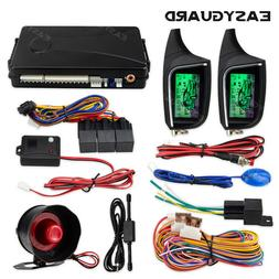 EASYGUARD 2 Way Car Alarm System remote Start LCD Pager Disp