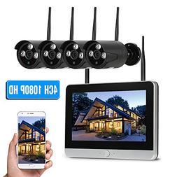 "OWSOO 4CH 1080P HD WiFi NVR Kit 11.5"" LCD Screen Monitor w"