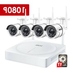 ZOSI 4CH 1080P Wireless NVR Security System outdoor IP Camer