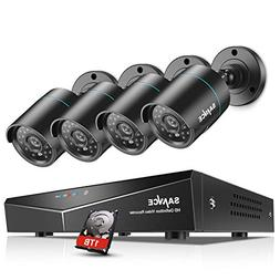 SANNCE 4CH 1080N Security Camera System with 1TB Hard Drive