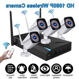 4CH Wireless 1080P NVR Outdoor IR WIFI IP Camera CCTV Securi