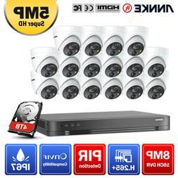 ANNKE 4K 8MP 16CH H.265+DVR 5MP HD PIR Dome Camera IP67 Home