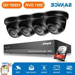 SANNCE 4x 1080p Dome Security Camera HD 8CH 5in1 DVR IP66 Em