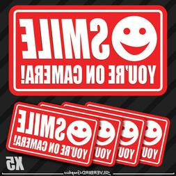 5 pack smile you're on camera stickers video security system