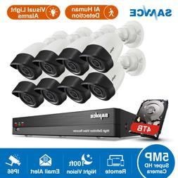 SANNCE 8CH DVR 5MP Video Security Camera System AI Human Det