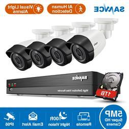 SANNCE 8CH DVR 5MP Visual Light Alarms Camera Security Syste