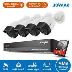 SANNCE 8CH DVR Ultra HD 5MP Security Camera System AI Dectec