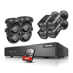 ANNKE 8CH 720P Security DVR System 1TB Hard Drive and  HD 1.