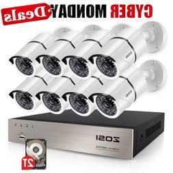ZOSI Security Cameras System 8CH 1080P HD-TVI CCTV DVR Recor
