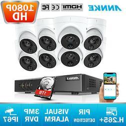 ANNKE 8 PCS 1080P HD PIR Light Alarm Security Camera 3MP 8CH