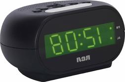 RCA LED Display Alarm Clock With Snooze Night Light and Batt