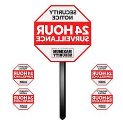 Security Sign w/Stake & 4 Window Decal Alarm Sign