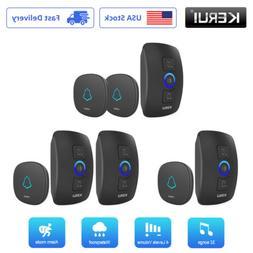 KERUI Black 433MHz Wireless Smart Waterproof Doorbell Welcom