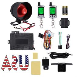 Car Alarm Security System Keyless Entry 2-Way LCD Remote Sta