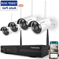 Wireless Security Camera System,SMONET 4CH HD Video Security