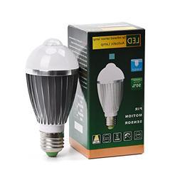 SUNWOW E26/E27 9W PIR Infrared Sensor Motion Light Bulb, 600