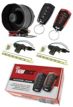 Keyless Entry Car Alarm Security System 2 Door Locks 2 Remot
