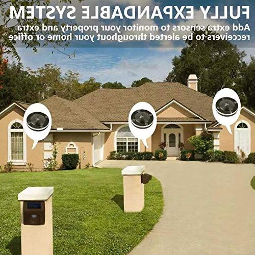 Hosmart Range Rechargable Solar Alarm Wireless Driveway Weatherproof Security Motion Sensor