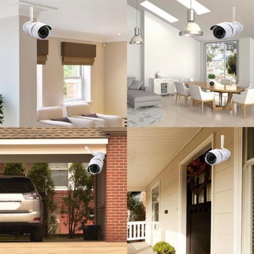 1080P HD 4CH Wireless CCTV IR-CUT Camera Alarm