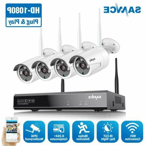 SANNCE 1080P 8CH NVR Wireless System 2MP IP Camera Alarm APP