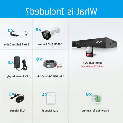 1080P Security Camera System CCTV Outdoor 2TB Hard DVR Kits