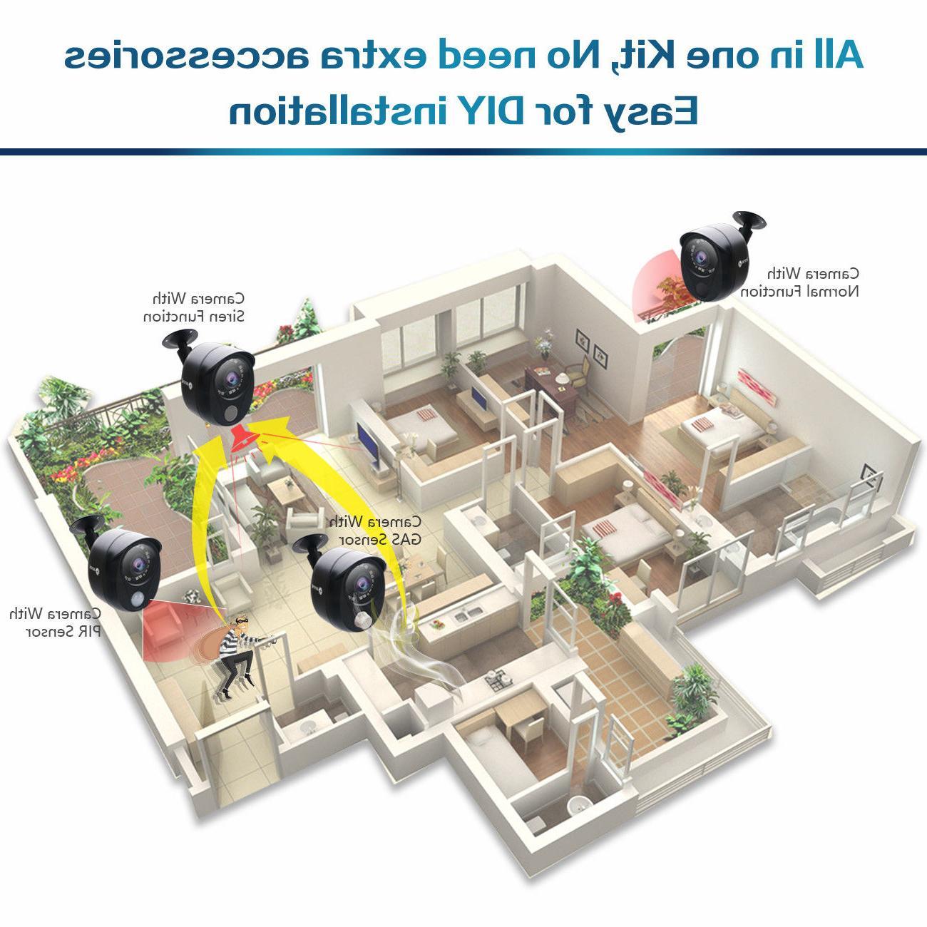 16CH DVR 8x Siren Gas Alarm CCTV System 1TB