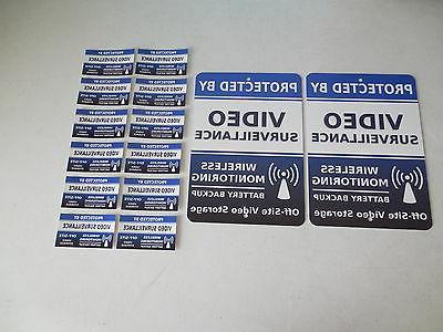 2 Video Surveillance Alarm System Yard Signs & 12 Window Sti