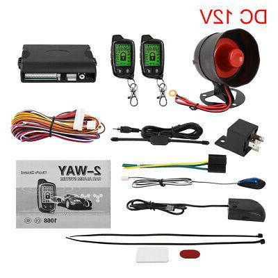 2 way car alarm system lcd vehicle
