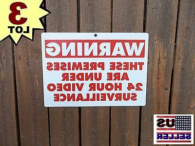3 Security Yard Warning Alarm System Signs For Home Fence Si