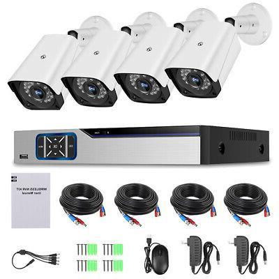 4CH 1080P Outdoor Security Camera Motion Alarm