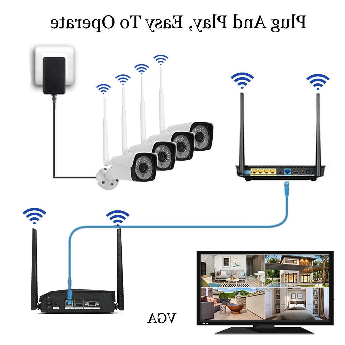 4CH Outdoor IR WIFI Camera CCTV Security