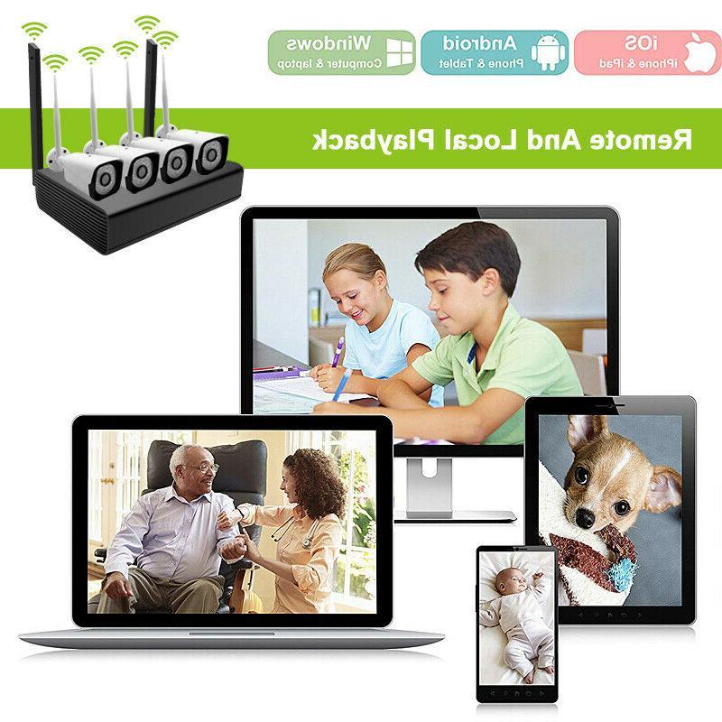 4CH Wireless Outdoor Camera CCTV Security Alarm System