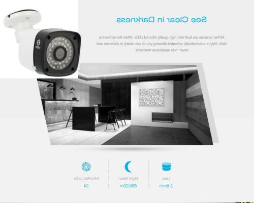 4CH NVR POE Camera Security System Motion Alarm