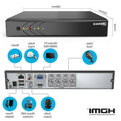 ANNKE 8 PCS HD PIR Security Camera 8CH DVR System Kit