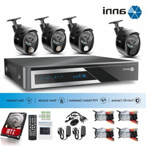 ANNI 4CH 1080P AHD DVR PIR+Siren Home CCTV Security Smart Al