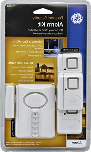 GE Personal Kit, Includes Deluxe Alarm with and Window/Door Alarms, Installation, Protection, Burglar Alert, Magnetic Off/Chime/Alarm,