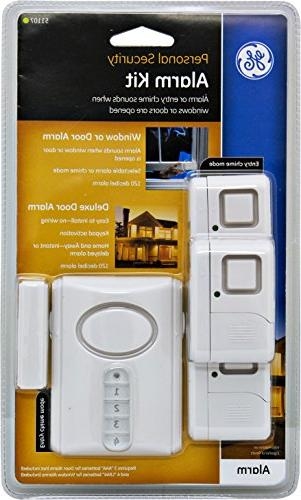 GE Personal Security Alarm Kit, Alarm Activation and Window/Door Easy Installation, Burglar Off/Chime/Alarm,