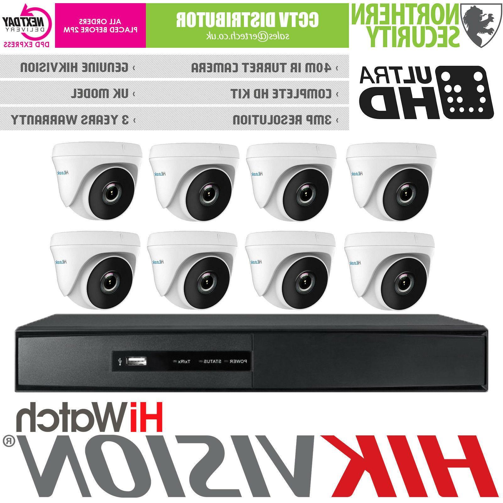 Hikvision 2 4 6 8 HD 3MP IP67 40M IR Alarm Turbo DVR Home Se