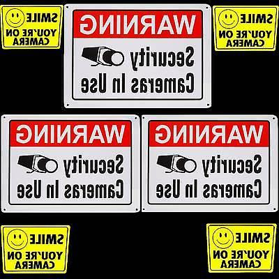 METAL SIGNS FOR HOME SECURITY CAMERA ALARM SYSTEM+WINDOW STI