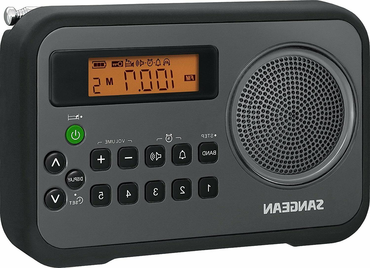 New Sangean Portable Dual Alarm Clock AM/FM Radio Humane Wak