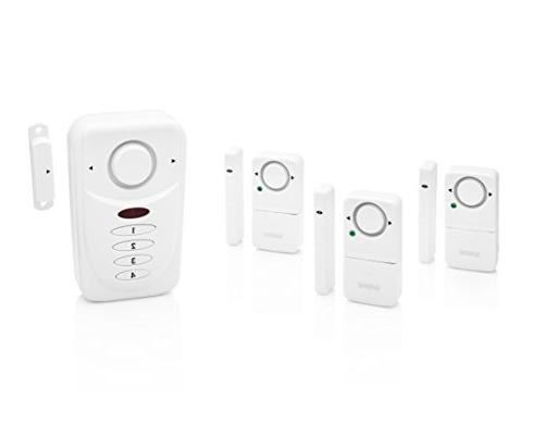 SABRE Wireless Alarm Kit dB Siren – Install – 3 Pack Window Alarm Door Alarm Exit Home Mode Setting for Max Safety While at Home