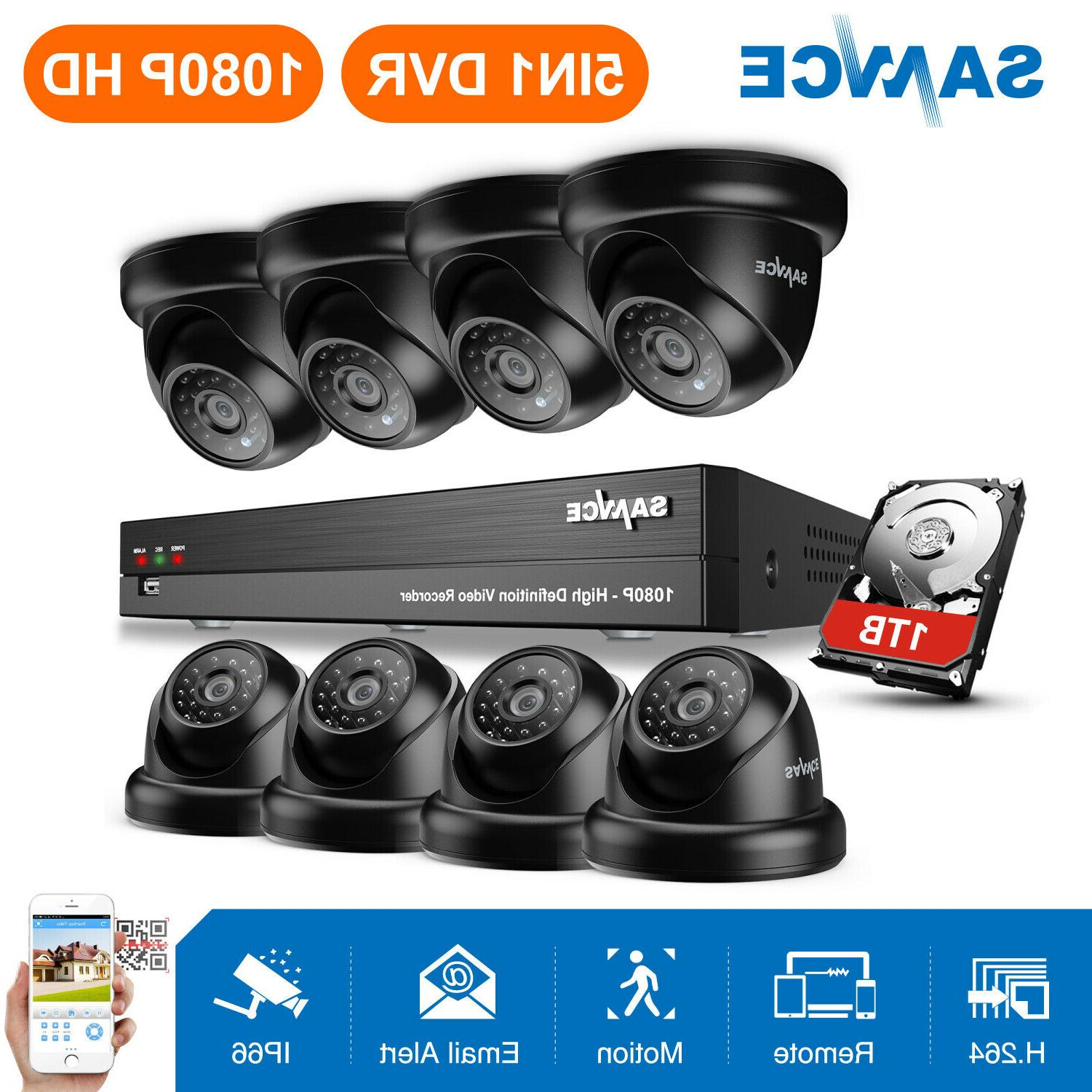 SANNCE Real 1080P HD 8CH H.264 DVR IR Night Vision Security