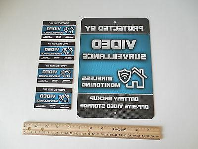 Video Surveillance Alarm System Yard Sign & 4 Window Sticker
