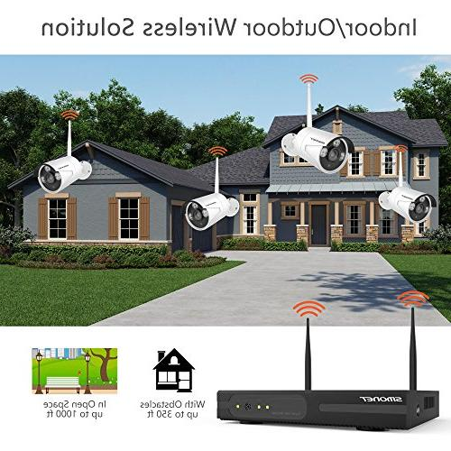Wireless 4CH Video Security System,4pcs HD Bullet IP Cameras,Support Detection & Remote View iOS App,No Hard